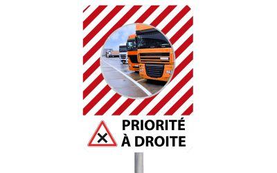 """Miroir à message de sécurité """"PRIORITÉ A DROITE"""""""
