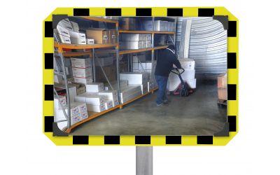 Miroir de contrôle de sécurité rectangulaire vivsion à 90° - dimensions 400 x 600 mm